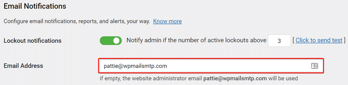 enter the email address to receive notification