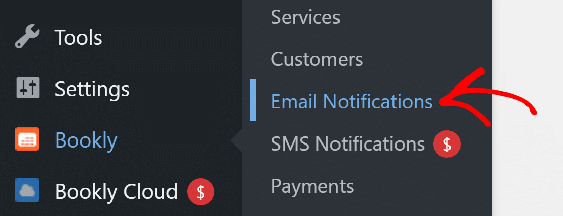go to Email Notifications in Bookly