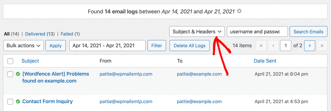 Search subject and headers in WordPress email log