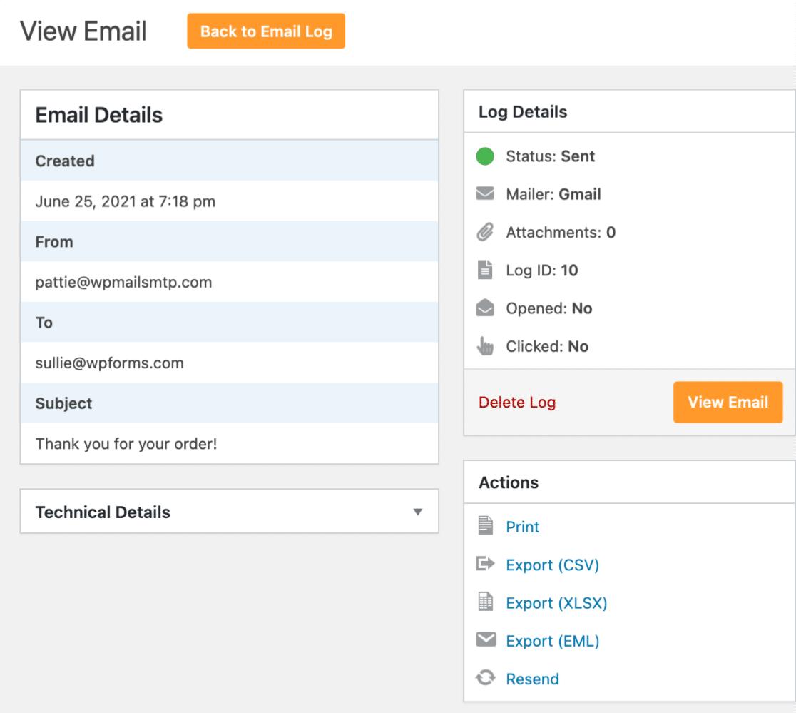 View individual email log