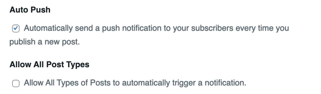 WordPress push notification settings