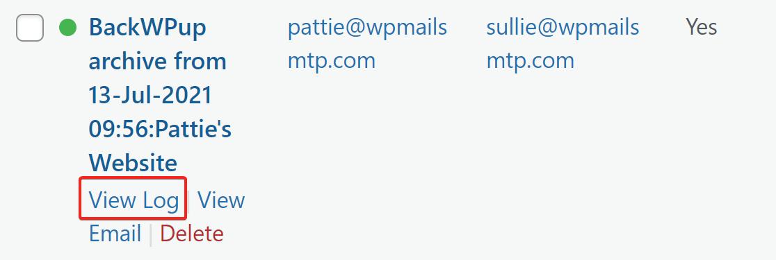 BackWPup backup email in log