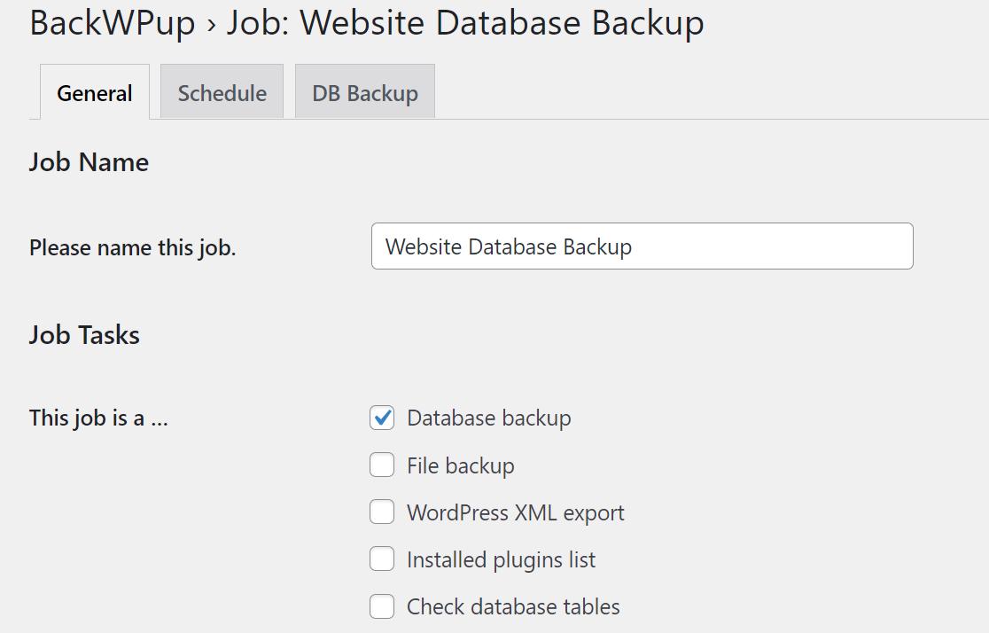 BackWPup job name and files