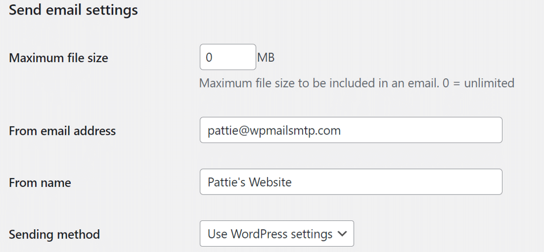 BackWPup send email settings