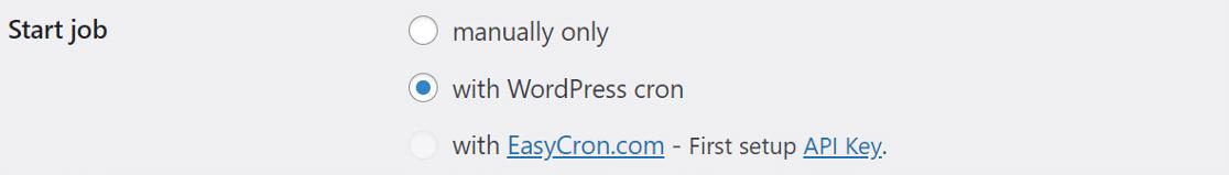 BackWPup start job methods WordPress cron