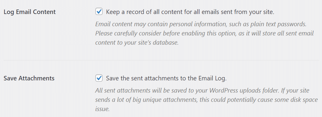 Enable email log content and save attachments