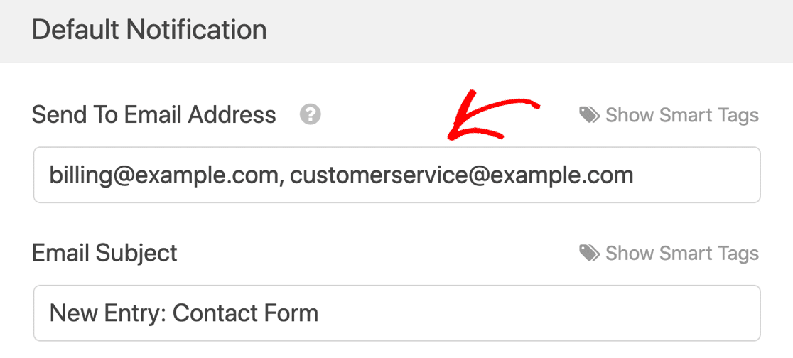 Comma separated notifications in WPForms Lite