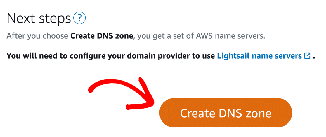 Create DNS Zone in Lightsail