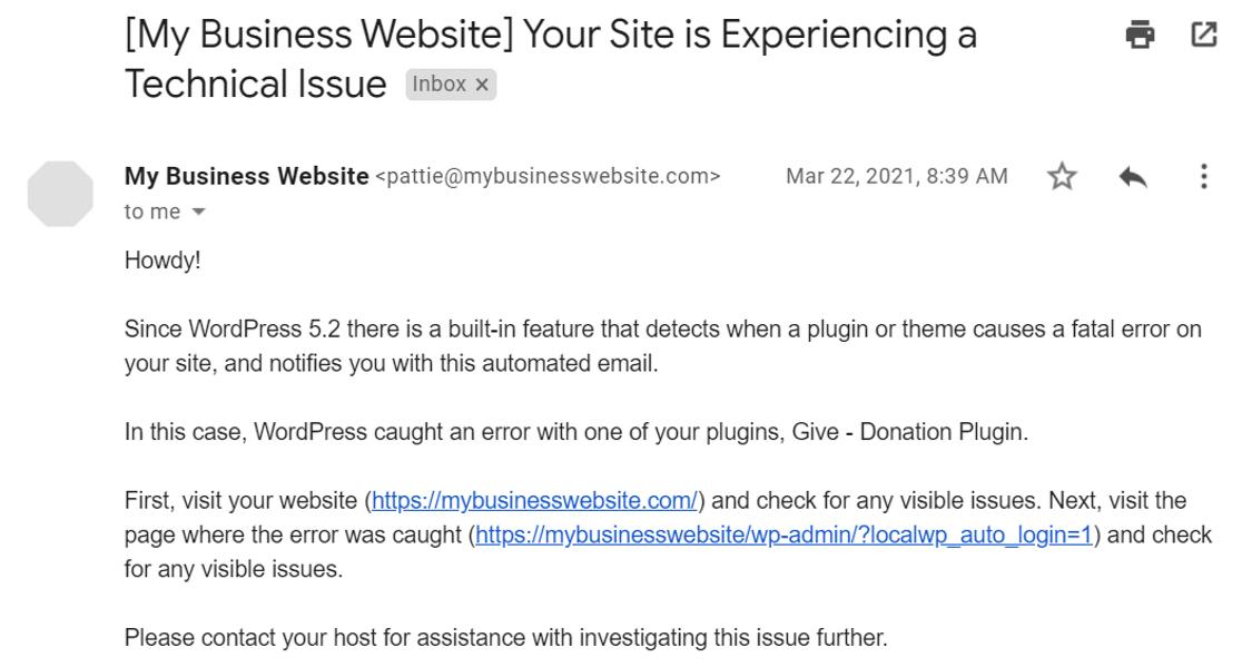 critical error email