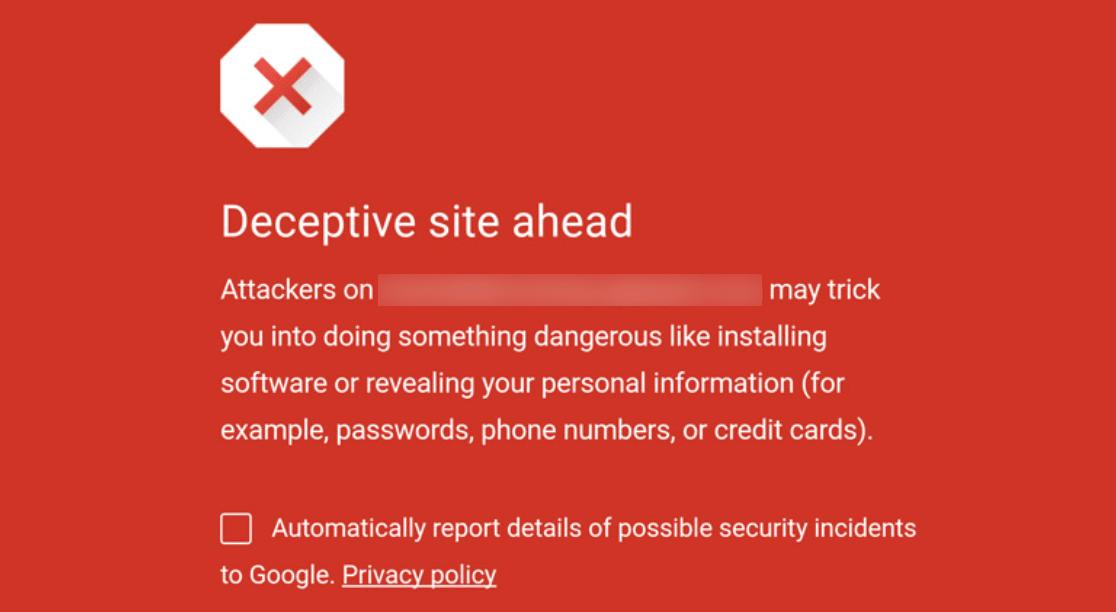Deceptive site warning