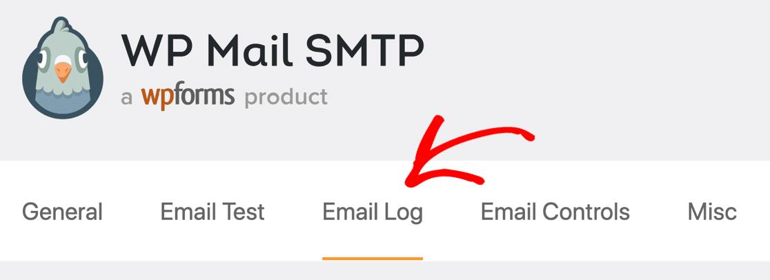 Email log settings tab