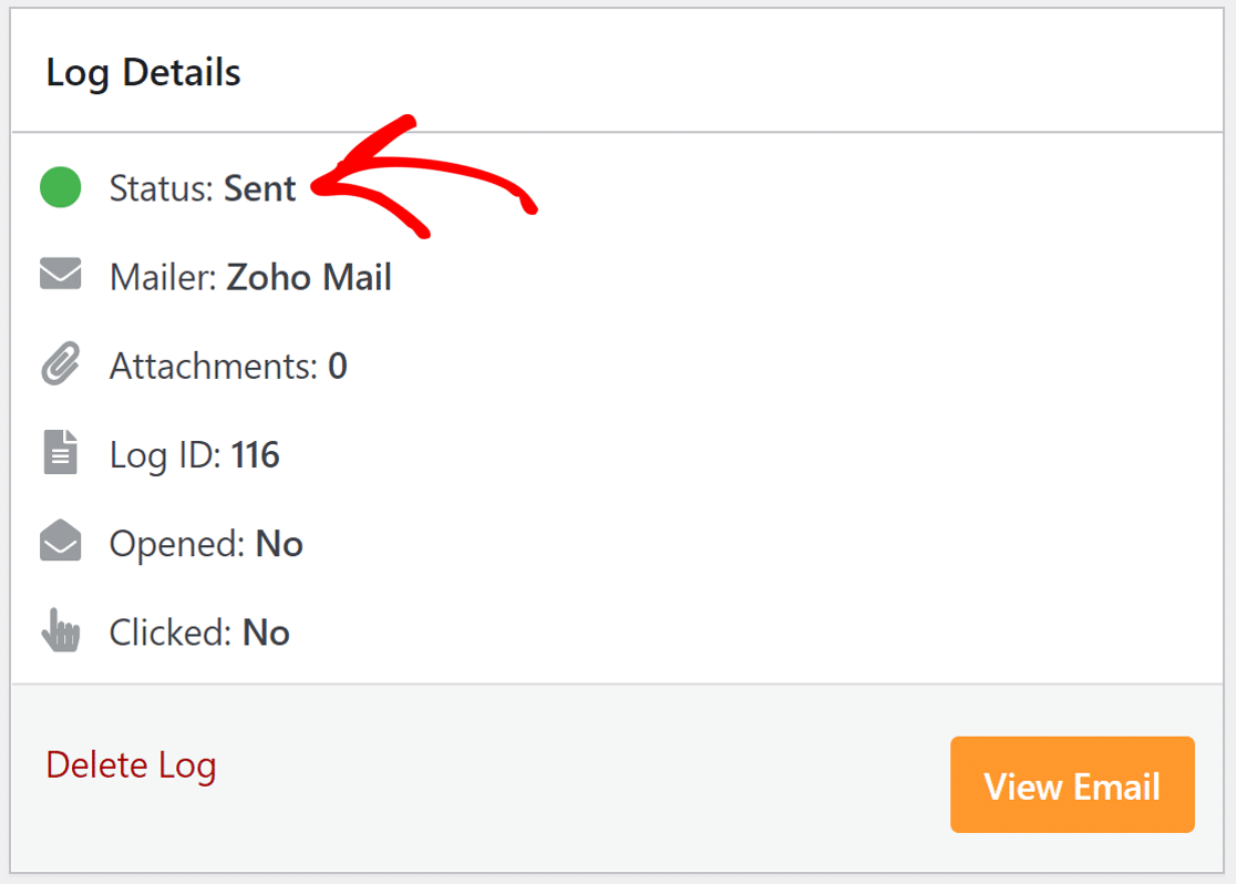 email status in WP Mail SMTP Zoho