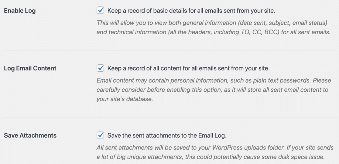 Email log attachments settings