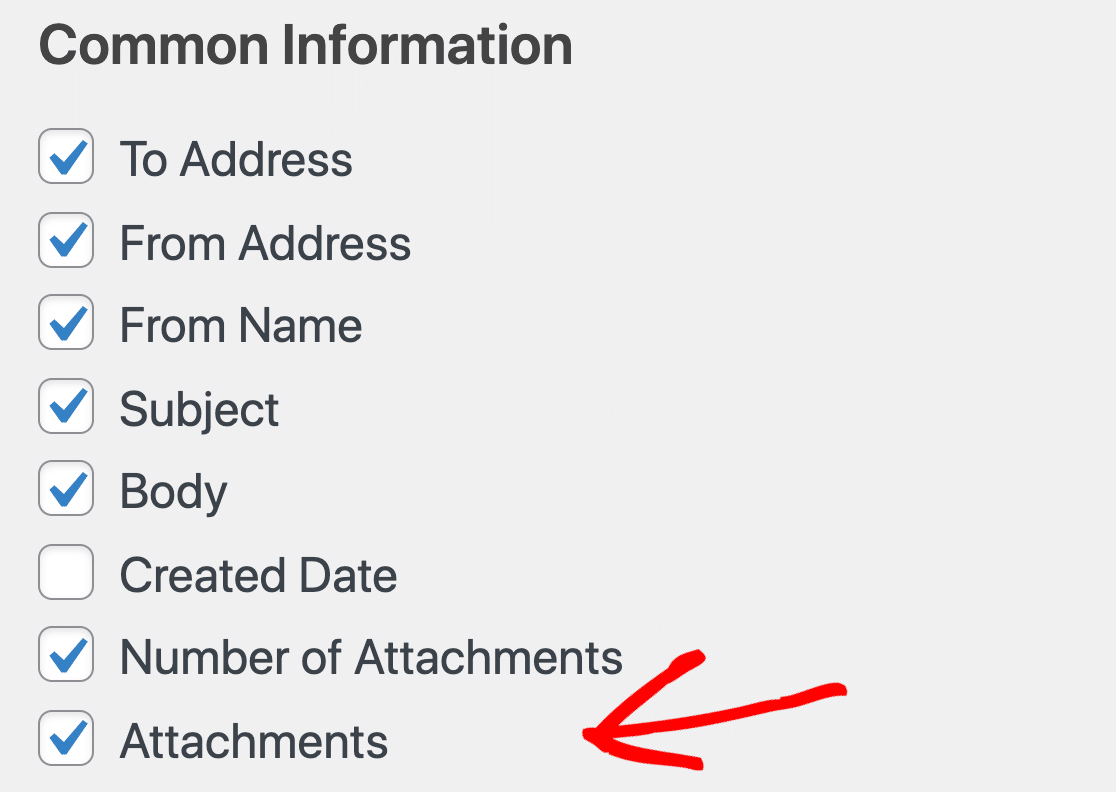 Export WordPress email attachments