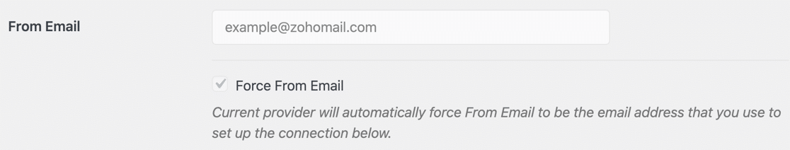 Force From email in WordPress grayed out