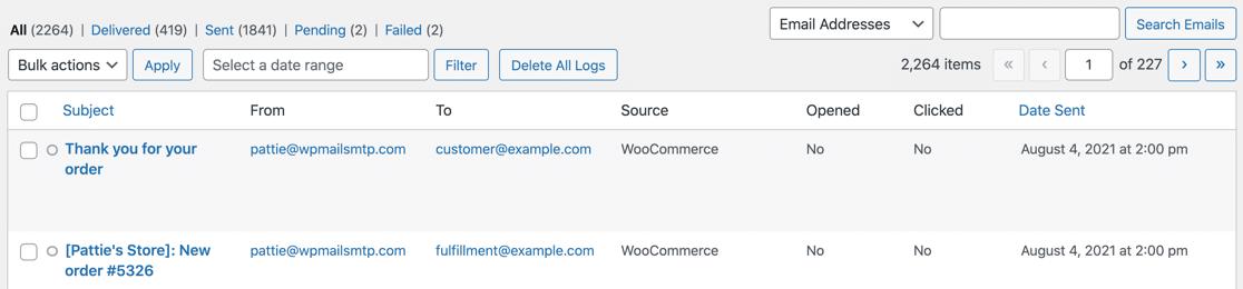 Email log showing WooCommerce order emails