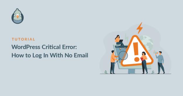 WordPress Critical Error: no email