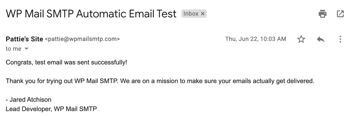 Automatic test email from WP Mail SMTP