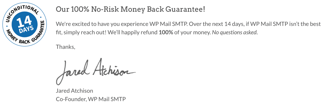 WP Mail SMTP money-back guarantee