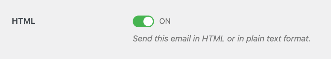 HTML email test setting