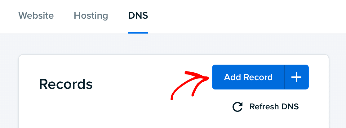 Adding a DNS record in the DreamHost dashboard