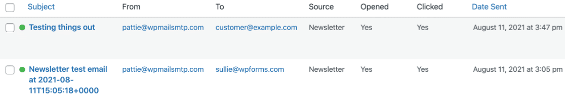 The Newsletter Plugin email log table