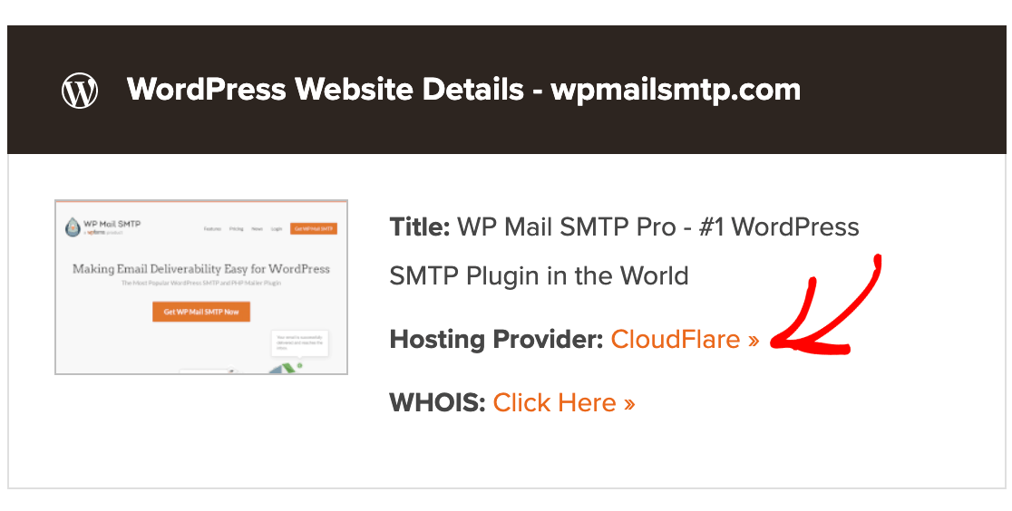 Finding a site's web host using WordPress Theme Detector