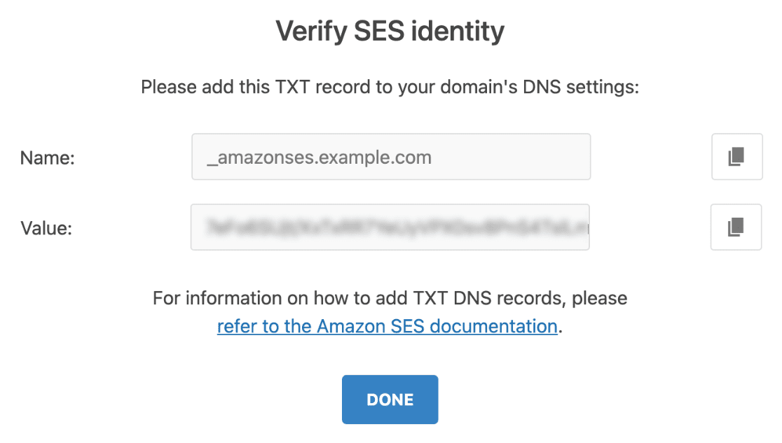 Add TXT record to domain DNS setting