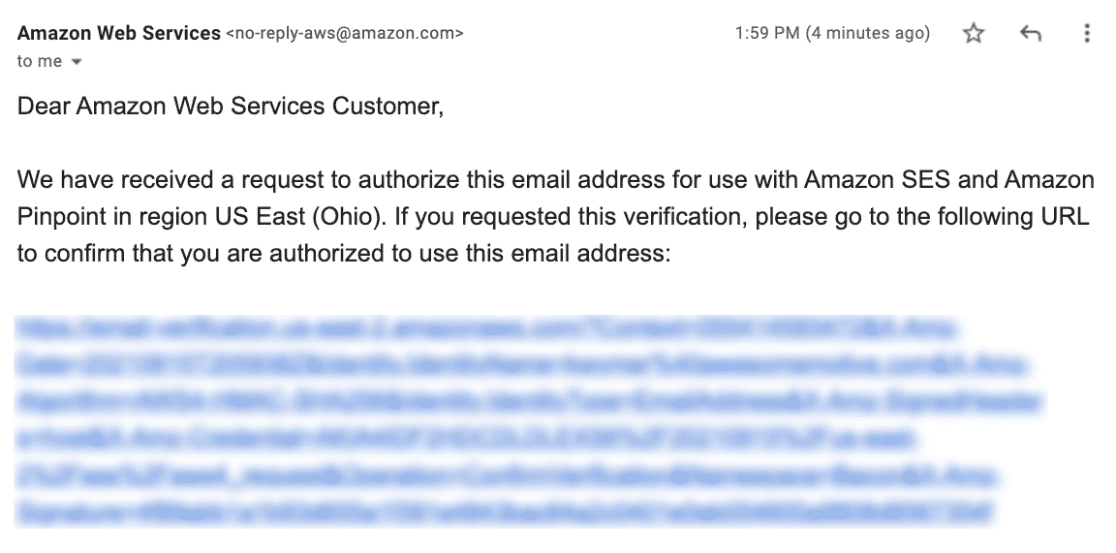 Email verification for Amazon SES