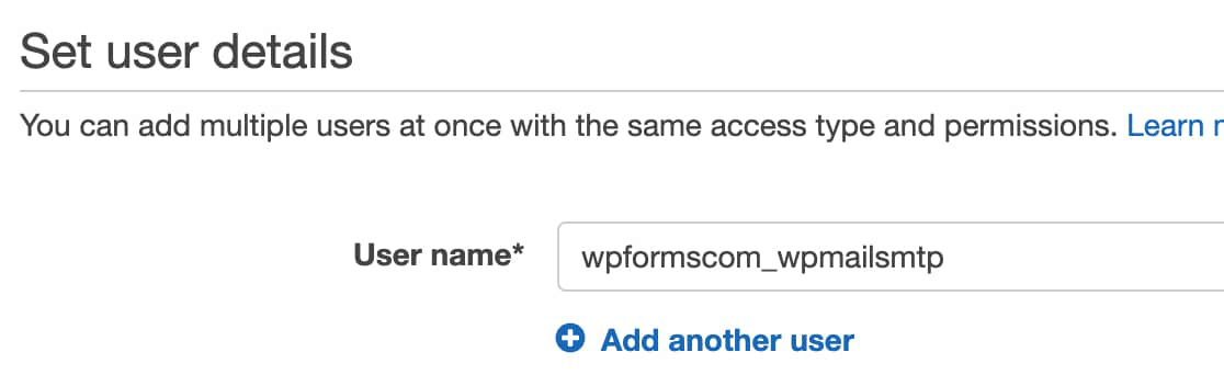 IAM user name