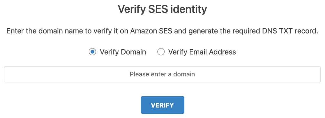 Verify SES domain