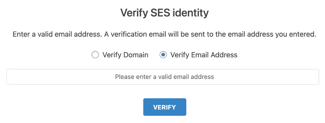 Verify SES with Email