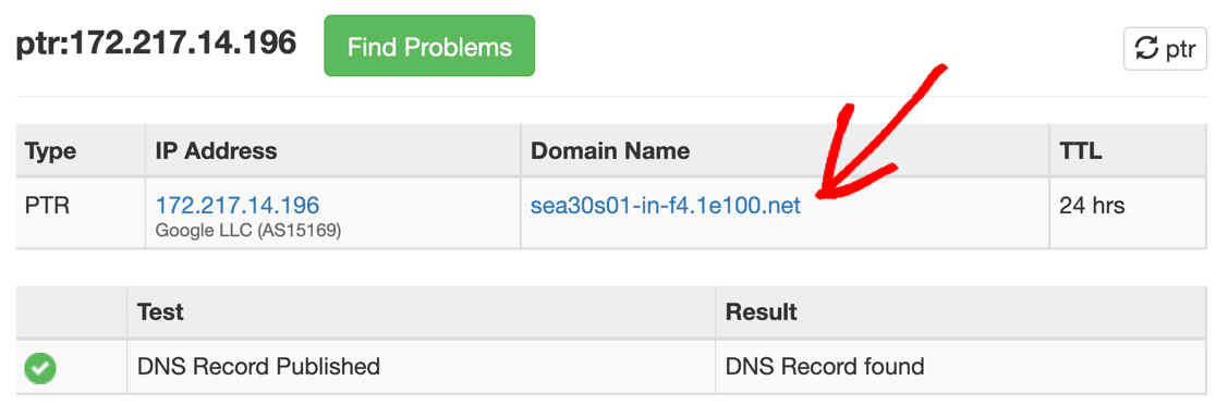 Full circle reverse DNS lookup for PTR record