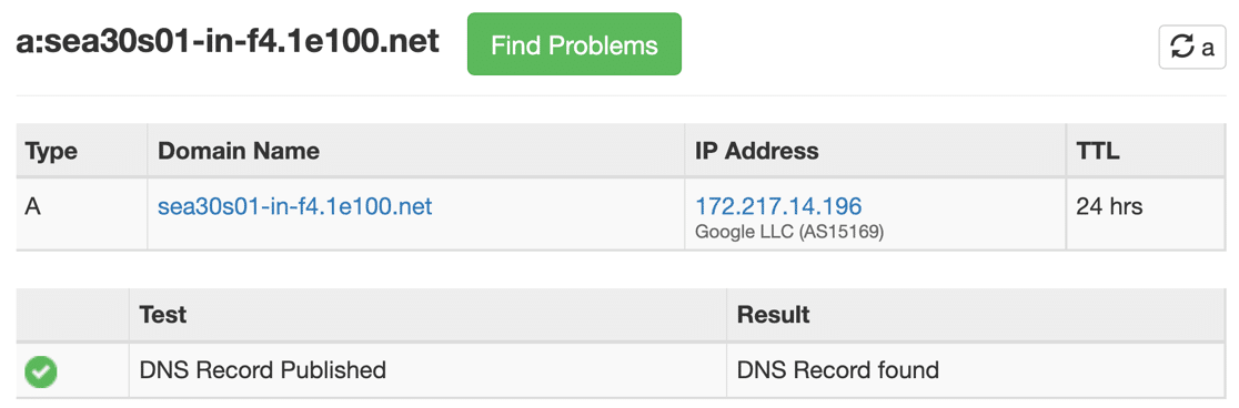 Result of full circle reverse DNS lookup for PTR record