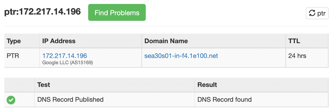 Result of reverse DNS lookup for PTR record