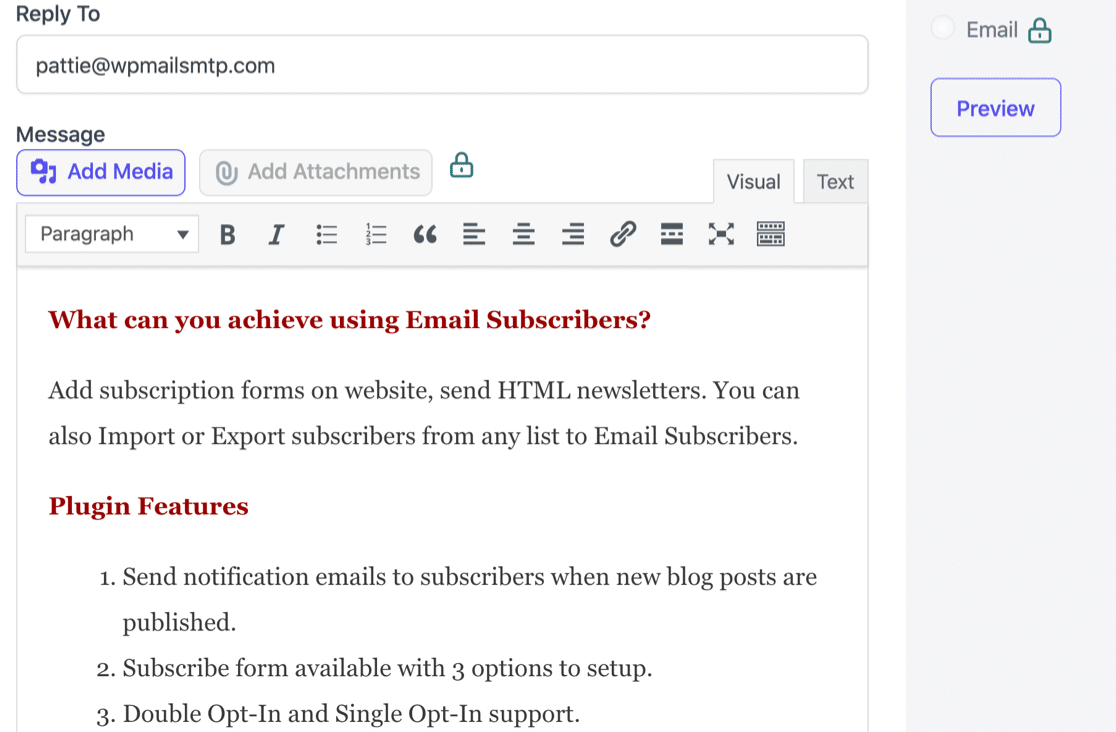 Newsletter composer in Email Subscribers and Newsletters plugin