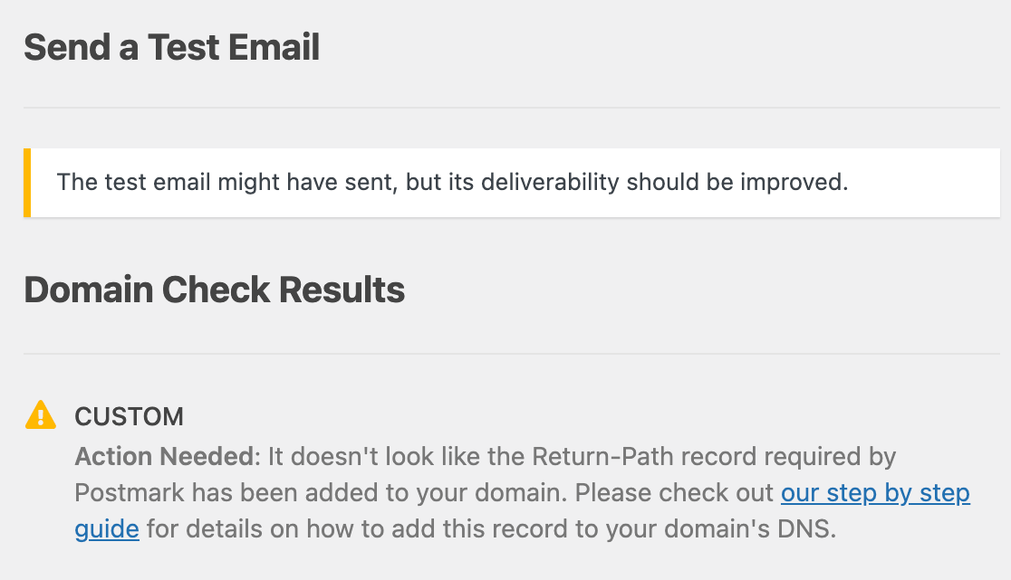 Domain Check results for a test email indicating that DNS records are missing