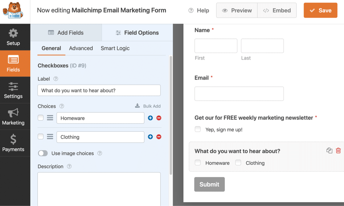 Mailchimp groups subscription form in WPForms