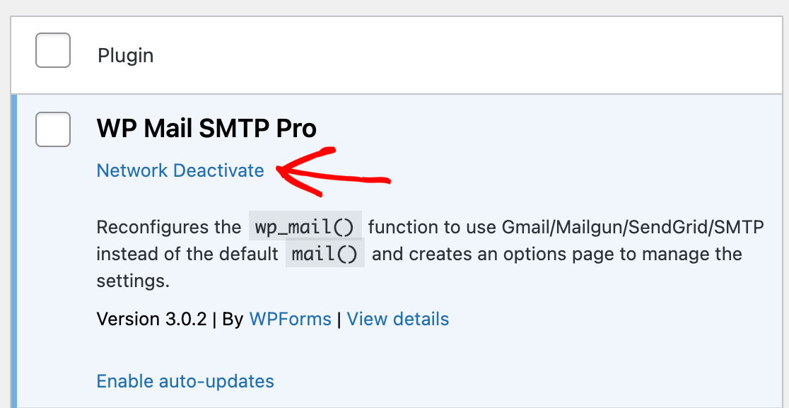Deactivating WP Mail SMTP at the network level