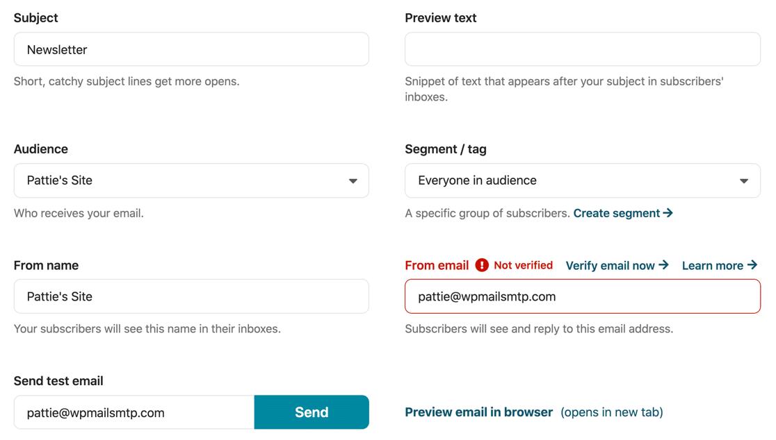 Newsletter Glue WordPress plugin settings