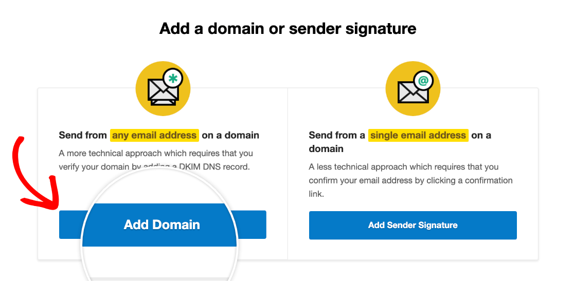 Adding a domain in Postmark