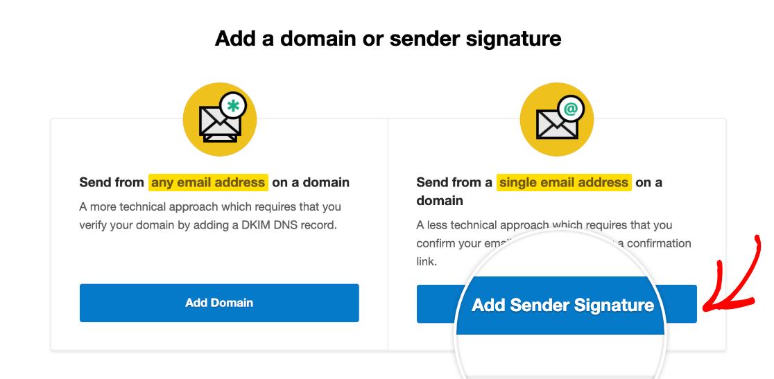 Adding a new Sender Signature in Postmark