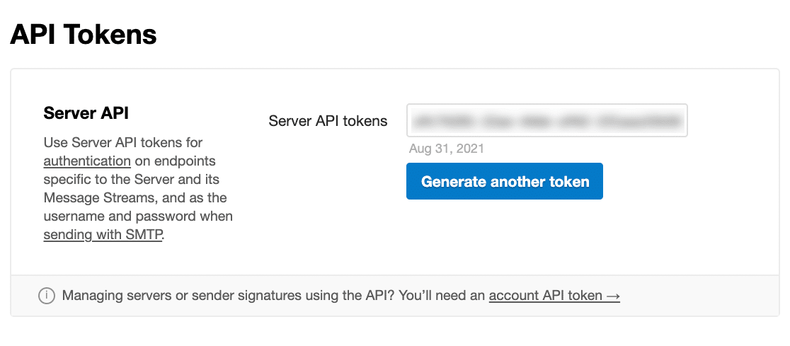 Copying a Postmark API Token