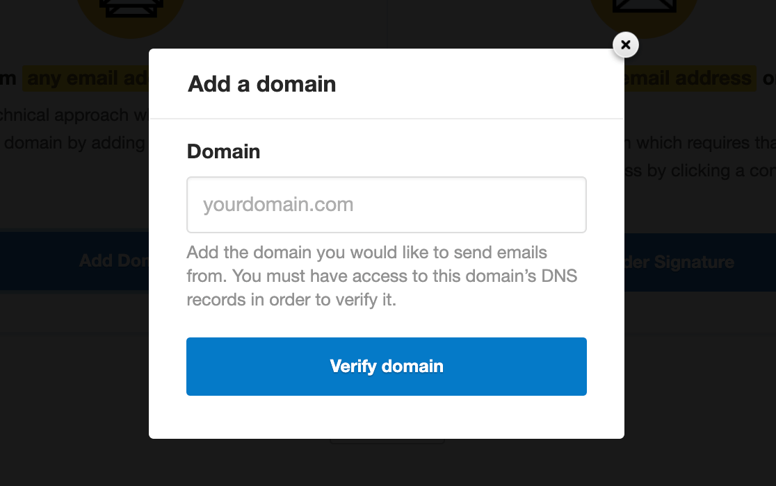 Entering the domain to verify in Postmark