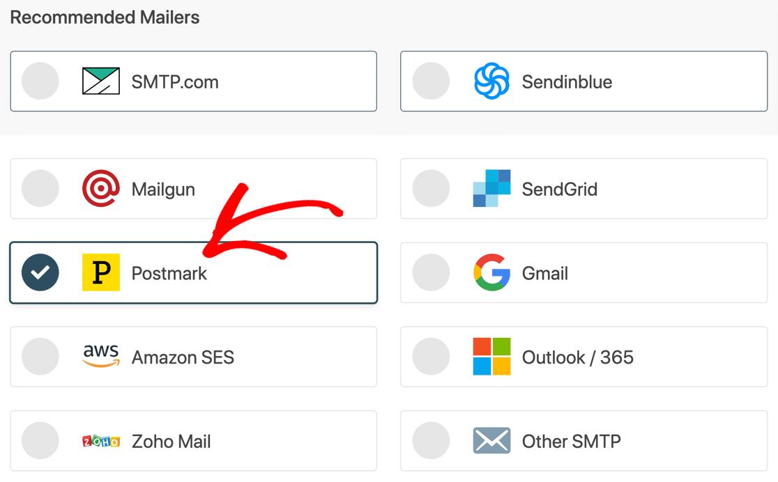 Postmark mailer in WP Mail SMTP Setup Wizard