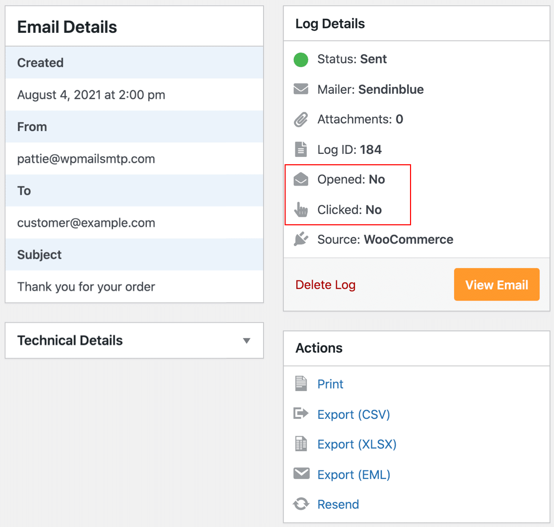 WooCommerce email log open and click tracking