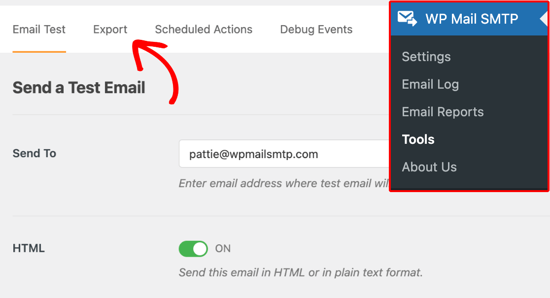 Accessing the WP Mail SMTP export tool