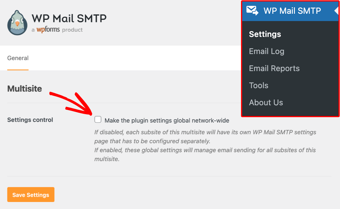 Enabling global network settings for WP Mail SMTP