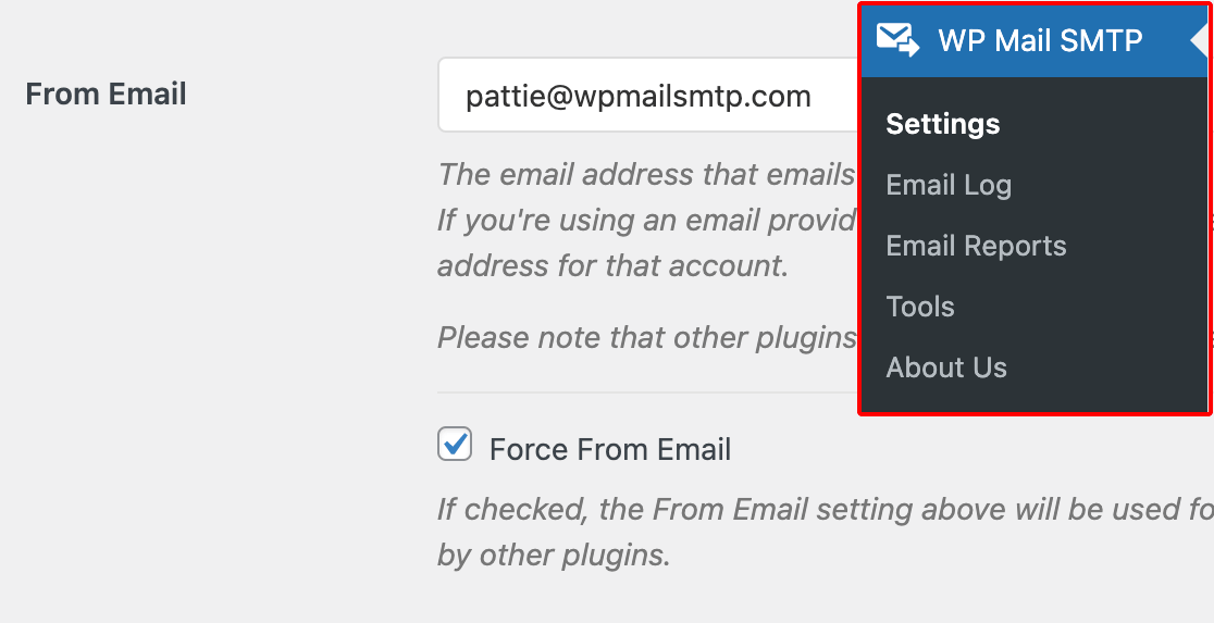 Adding a From Email to the WP Mail SMTP settings