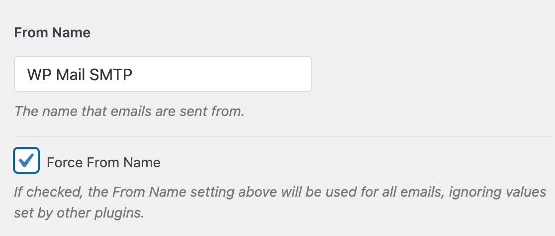 Adding and forcing a From Name in the WP Mail SMTP settings